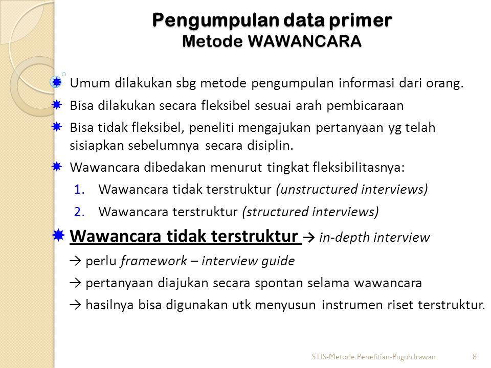 Pengumpulan data primer Metode WAWANCARA  Umum dilakukan sbg metode pengumpulan informasi dari orang.