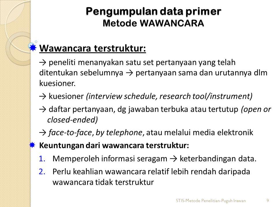 Pengumpulan data primer Metode WAWANCARA  Wawancara terstruktur: → peneliti menanyakan satu set pertanyaan yang telah ditentukan sebelumnya → pertanyaan sama dan urutannya dlm kuesioner.