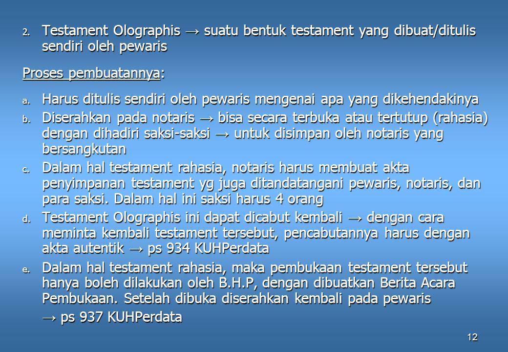 12 2. Testament Olographis → suatu bentuk testament yang dibuat/ditulis sendiri oleh pewaris Proses pembuatannya: a. Harus ditulis sendiri oleh pewari