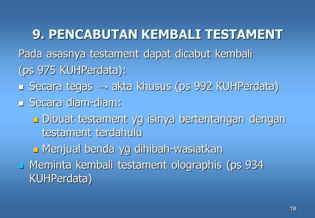 19 9. PENCABUTAN KEMBALI TESTAMENT Pada asasnya testament dapat dicabut kembali (ps 975 KUHPerdata): Secara tegas → akta khusus (ps 992 KUHPerdata) Se