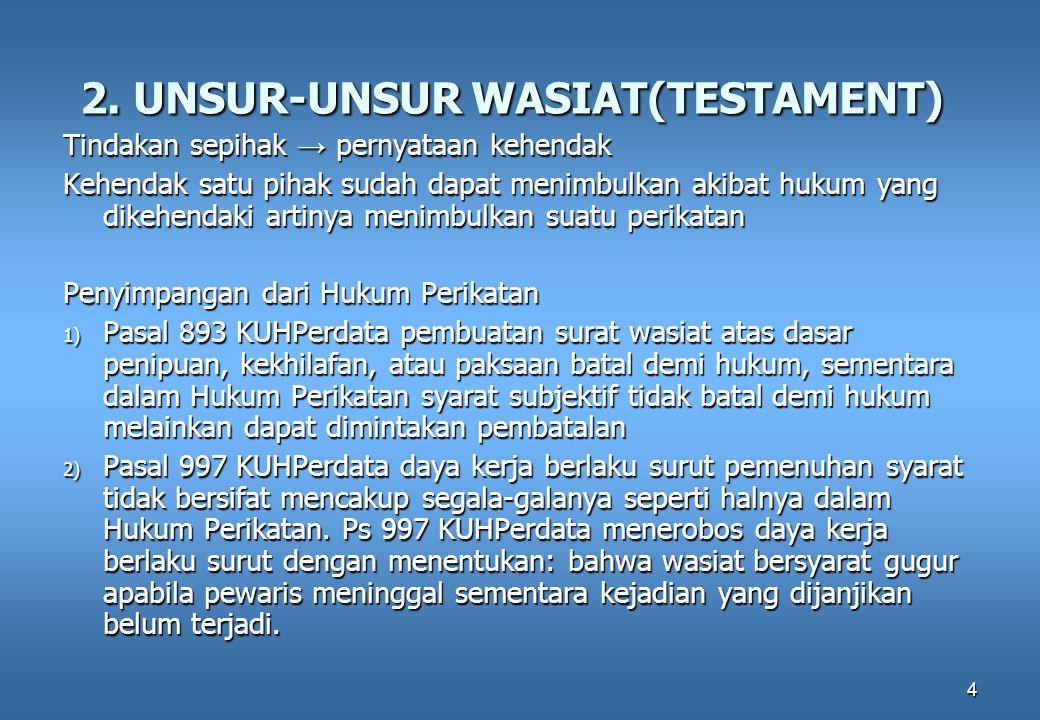 4 2. UNSUR-UNSUR WASIAT(TESTAMENT) Tindakan sepihak → pernyataan kehendak Kehendak satu pihak sudah dapat menimbulkan akibat hukum yang dikehendaki ar