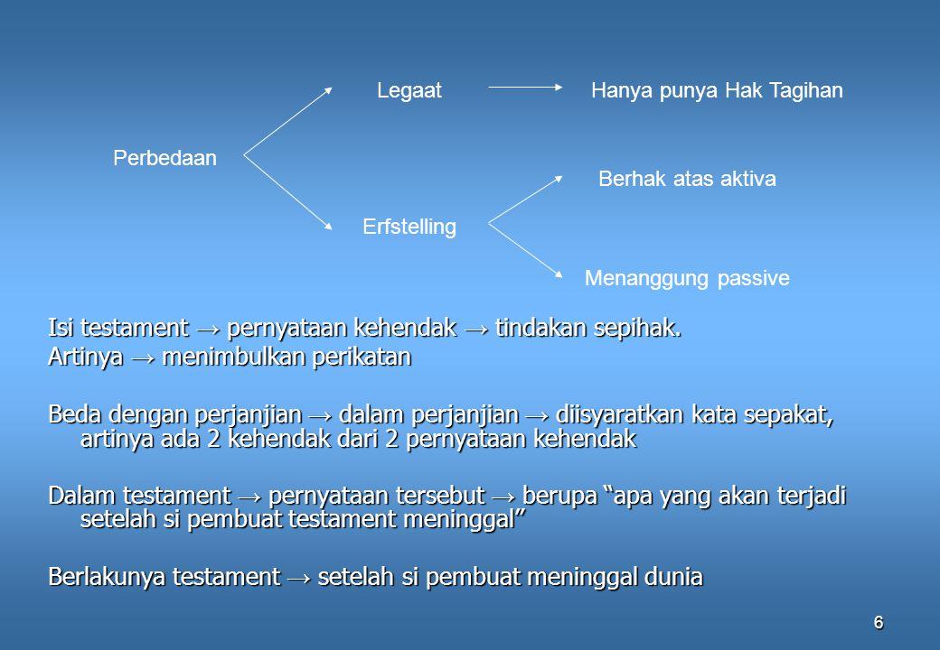 6 Isi testament → pernyataan kehendak → tindakan sepihak. Artinya → menimbulkan perikatan Beda dengan perjanjian → dalam perjanjian → diisyaratkan kat