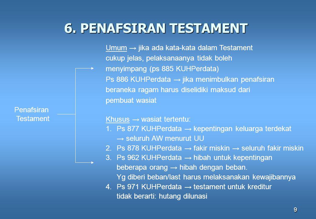 9 6. PENAFSIRAN TESTAMENT Penafsiran Testament Umum → jika ada kata-kata dalam Testament cukup jelas, pelaksanaanya tidak boleh menyimpang (ps 885 KUH