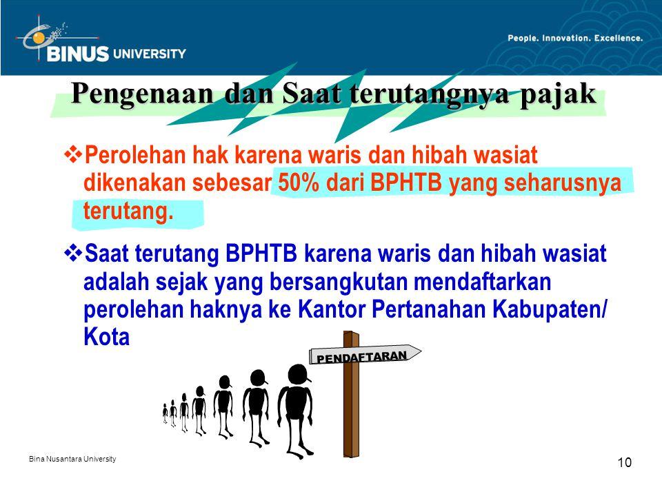 Bina Nusantara University 10  Perolehan hak karena waris dan hibah wasiat dikenakan sebesar 50% dari BPHTB yang seharusnya terutang.  Saat terutang