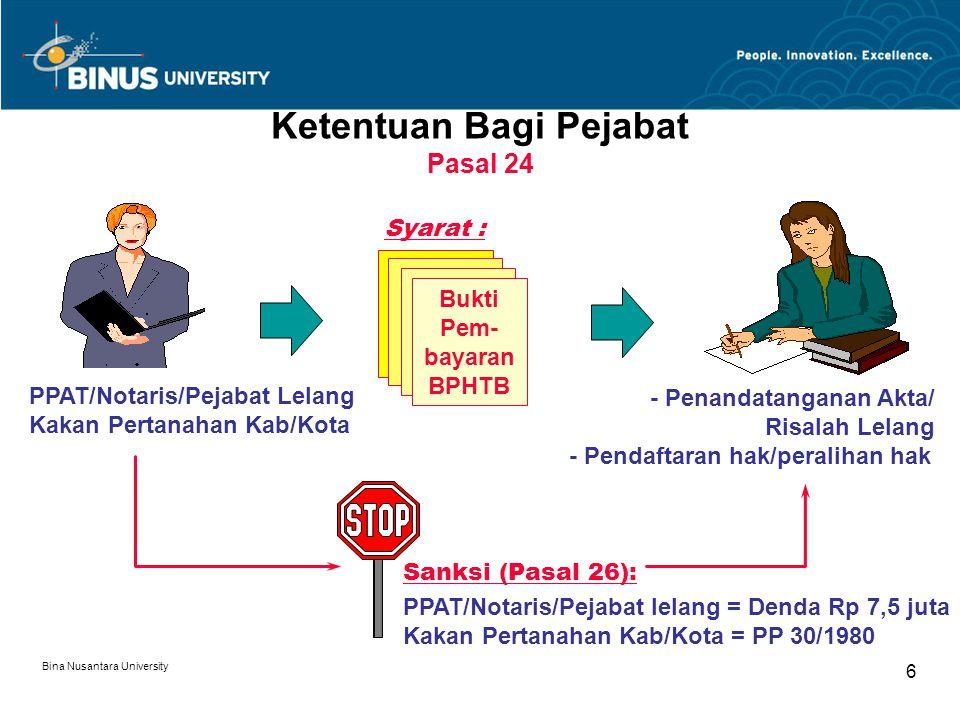 Bina Nusantara University 6 Ketentuan Bagi Pejabat Pasal 24 PPAT/Notaris/Pejabat Lelang Kakan Pertanahan Kab/Kota Bukti Pem- bayaran BPHTB Syarat : -