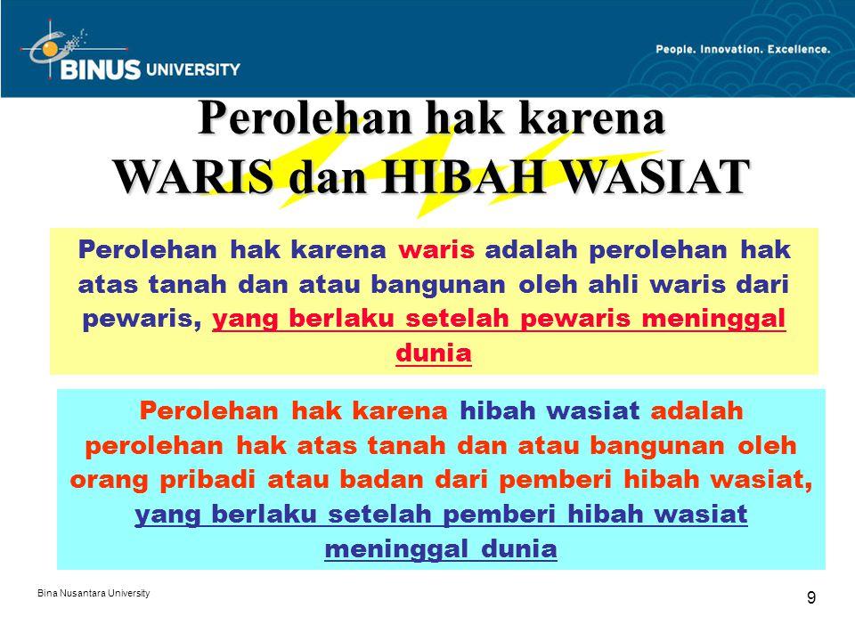 Bina Nusantara University 9 Perolehan hak karena WARIS dan HIBAH WASIAT Perolehan hak karena waris adalah perolehan hak atas tanah dan atau bangunan o