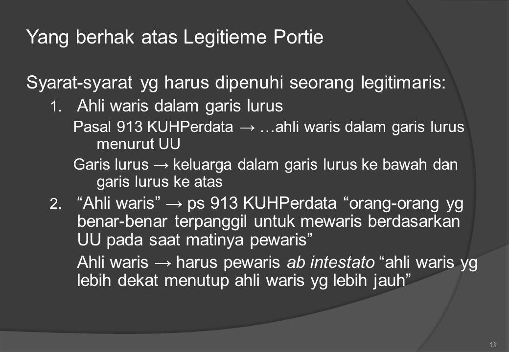 Yang berhak atas Legitieme Portie Syarat-syarat yg harus dipenuhi seorang legitimaris: 1.
