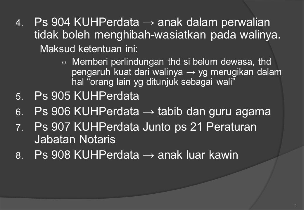 4.Ps 904 KUHPerdata → anak dalam perwalian tidak boleh menghibah-wasiatkan pada walinya.