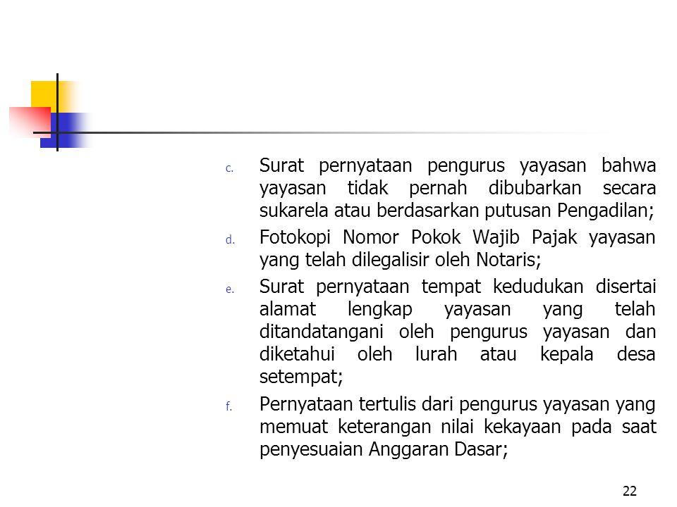 c. Surat pernyataan pengurus yayasan bahwa yayasan tidak pernah dibubarkan secara sukarela atau berdasarkan putusan Pengadilan; d. Fotokopi Nomor Poko