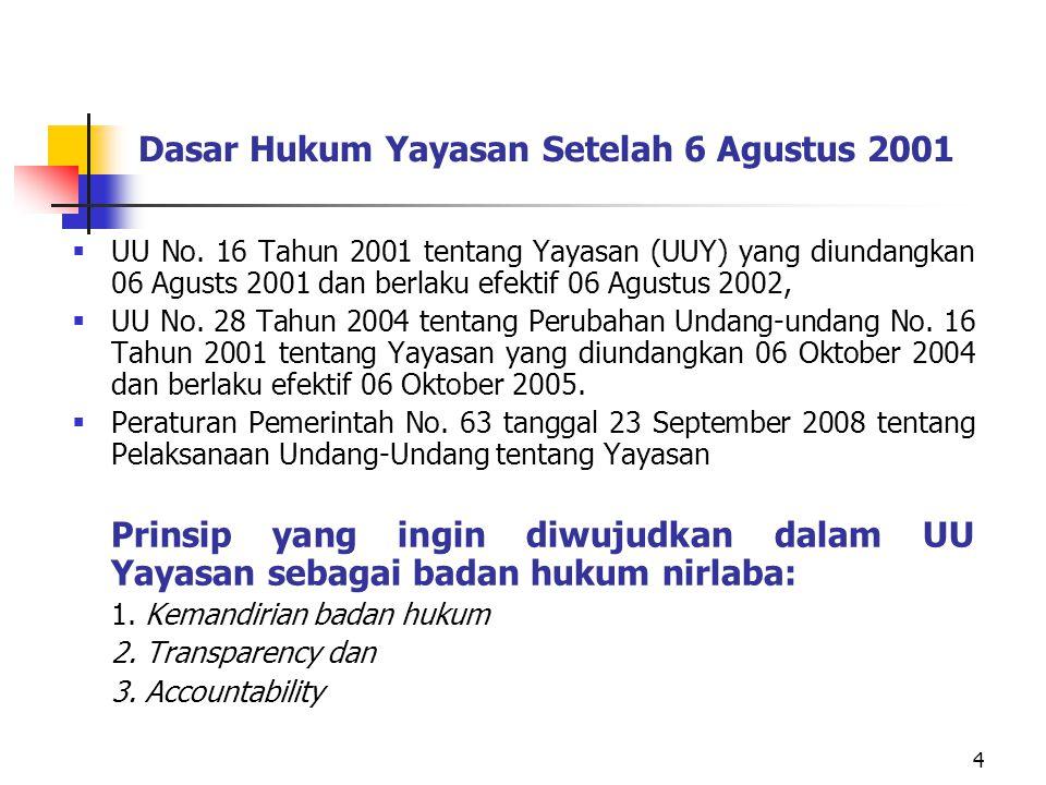 4 Dasar Hukum Yayasan Setelah 6 Agustus 2001  UU No. 16 Tahun 2001 tentang Yayasan (UUY) yang diundangkan 06 Agusts 2001 dan berlaku efektif 06 Agust