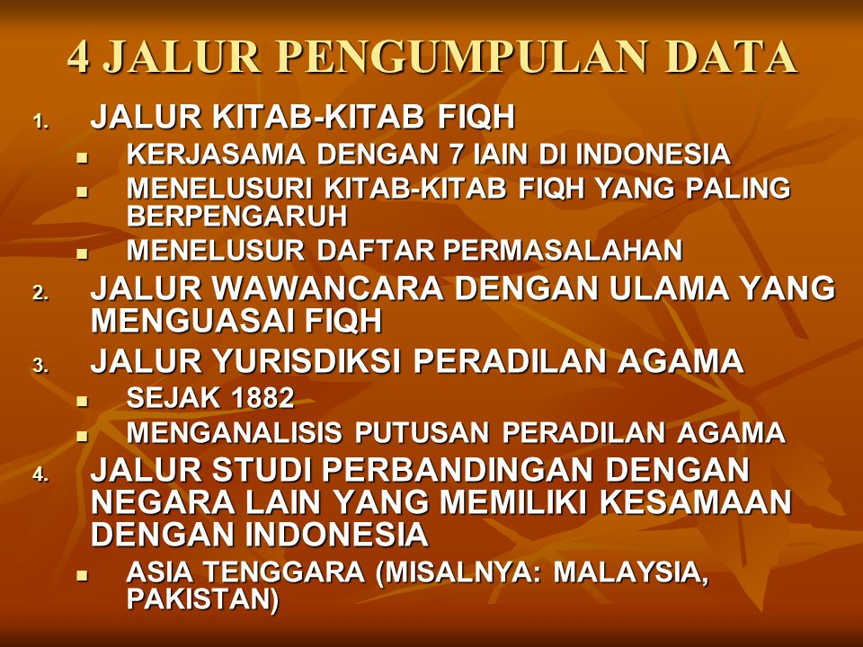 4 JALUR PENGUMPULAN DATA 1. JALUR KITAB-KITAB FIQH KERJASAMA DENGAN 7 IAIN DI INDONESIA KERJASAMA DENGAN 7 IAIN DI INDONESIA MENELUSURI KITAB-KITAB FI