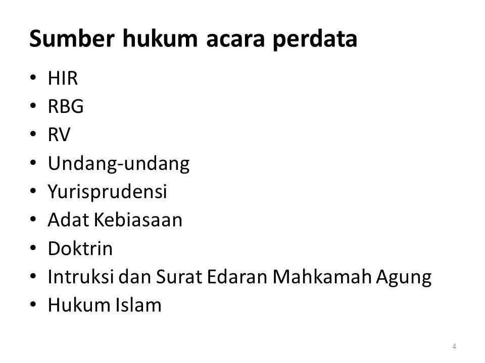 Sumber hukum acara perdata HIR RBG RV Undang-undang Yurisprudensi Adat Kebiasaan Doktrin Intruksi dan Surat Edaran Mahkamah Agung Hukum Islam 4