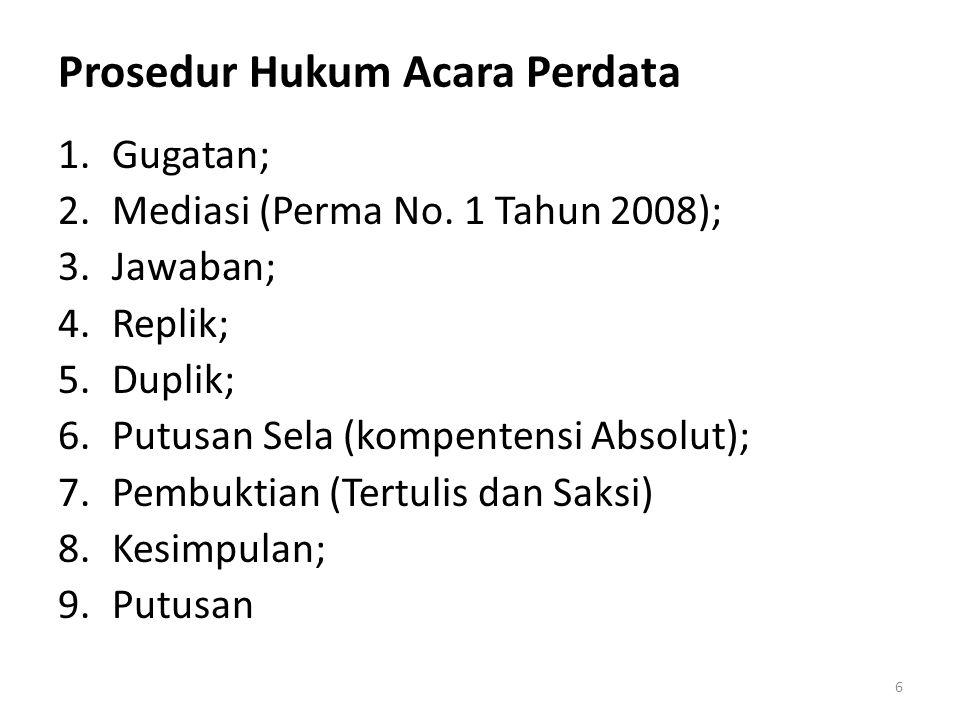 Prosedur Hukum Acara Perdata 1.Gugatan; 2.Mediasi (Perma No.