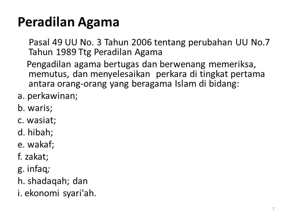 Peradilan Agama Pasal 49 UU No.