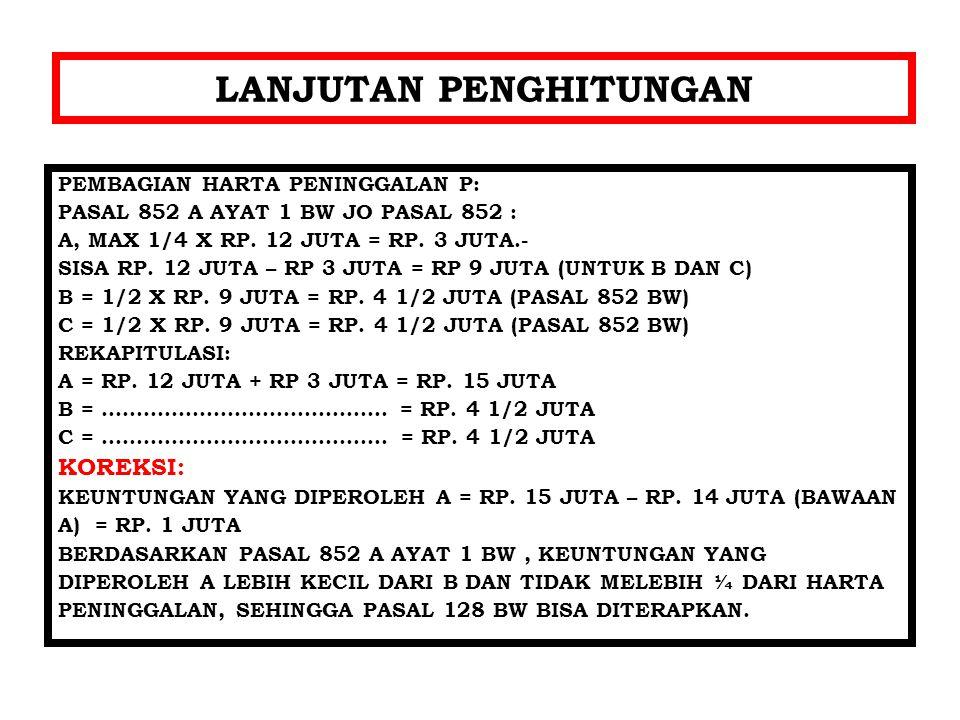 LANJUTAN PENGHITUNGAN PEMBAGIAN HARTA PENINGGALAN P: PASAL 852 A AYAT 1 BW JO PASAL 852 : A, MAX 1/4 X RP.