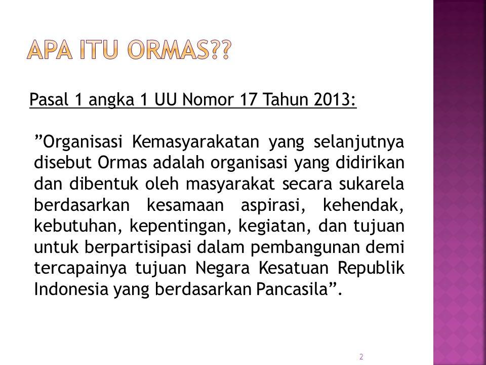Pasal 9 UU No 17 Tahun 2013: Ormas didirikan oleh 3 (tiga) orang warga negara Indonesia atau lebih, kecuali Ormas yang berbadan hukum yayasan.