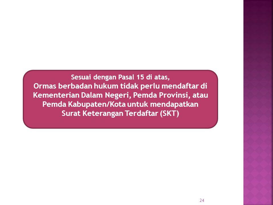 Sesuai dengan Pasal 15 di atas, Ormas berbadan hukum tidak perlu mendaftar di Kementerian Dalam Negeri, Pemda Provinsi, atau Pemda Kabupaten/Kota untu