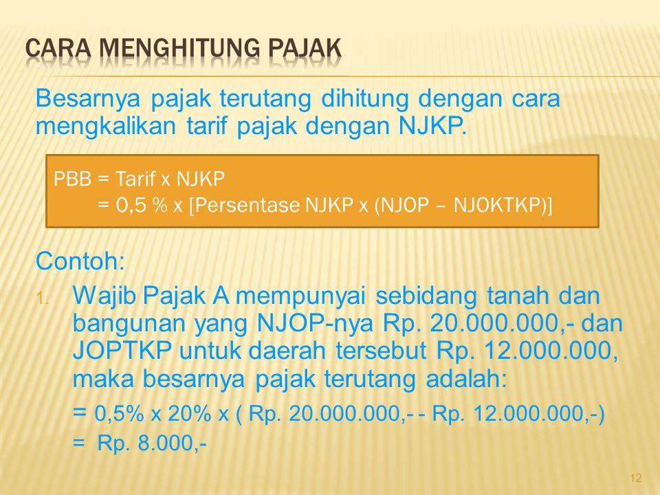Besarnya pajak terutang dihitung dengan cara mengkalikan tarif pajak dengan NJKP. Contoh: 1. Wajib Pajak A mempunyai sebidang tanah dan bangunan yang