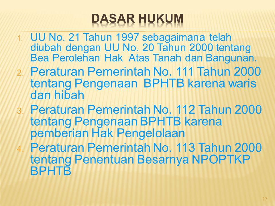 1. UU No. 21 Tahun 1997 sebagaimana telah diubah dengan UU No. 20 Tahun 2000 tentang Bea Perolehan Hak Atas Tanah dan Bangunan. 2. Peraturan Pemerinta