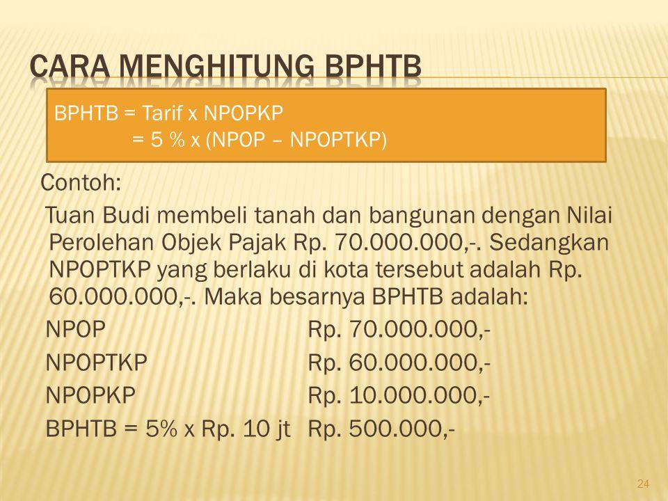 Contoh: Tuan Budi membeli tanah dan bangunan dengan Nilai Perolehan Objek Pajak Rp. 70.000.000,-. Sedangkan NPOPTKP yang berlaku di kota tersebut adal