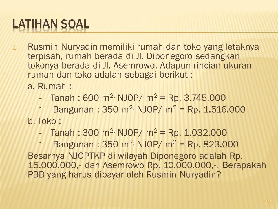 1. Rusmin Nuryadin memiliki rumah dan toko yang letaknya terpisah, rumah berada di Jl. Diponegoro sedangkan tokonya berada di Jl. Asemrowo. Adapun rin