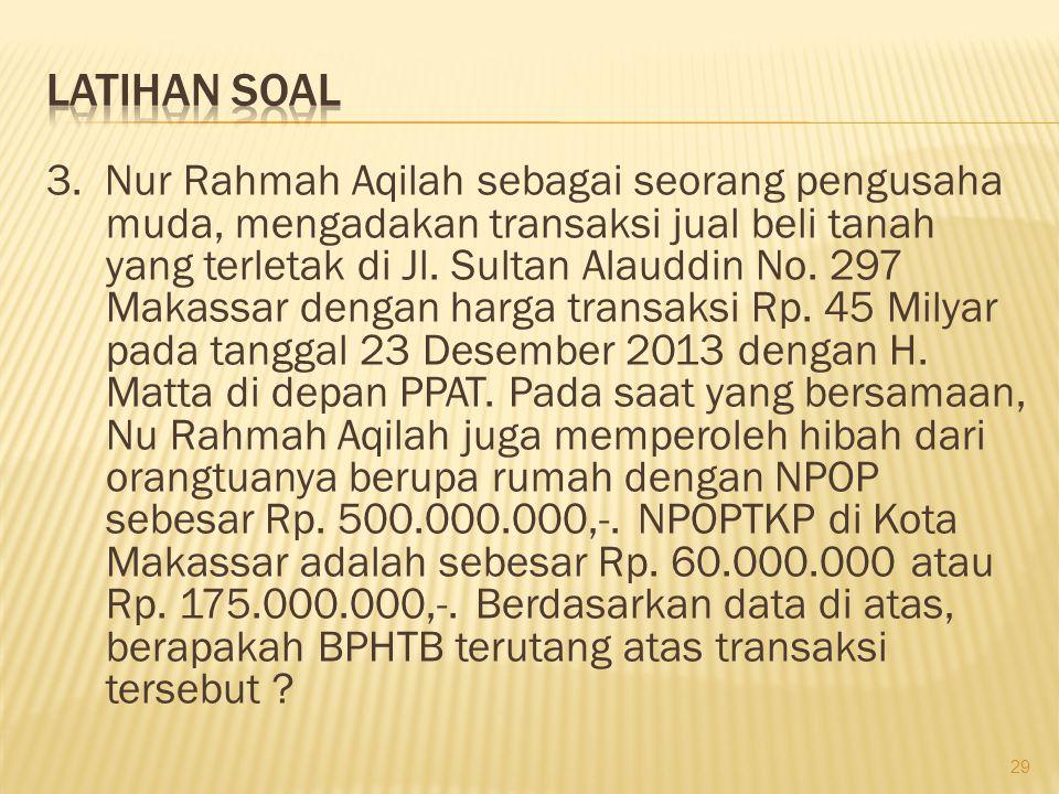3. Nur Rahmah Aqilah sebagai seorang pengusaha muda, mengadakan transaksi jual beli tanah yang terletak di Jl. Sultan Alauddin No. 297 Makassar dengan