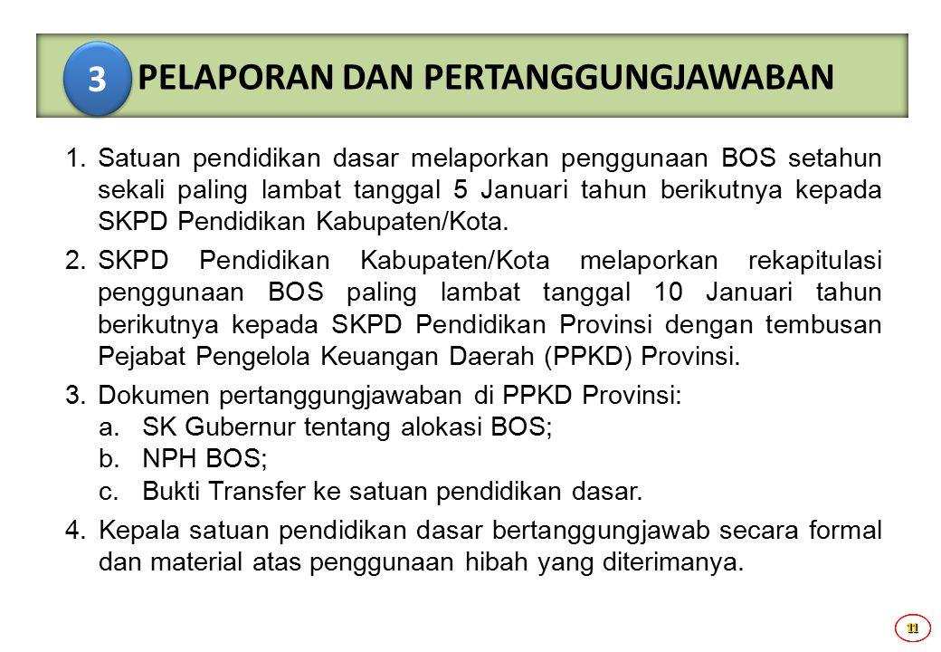 11111111 1.Satuan pendidikan dasar melaporkan penggunaan BOS setahun sekali paling lambat tanggal 5 Januari tahun berikutnya kepada SKPD Pendidikan Ka