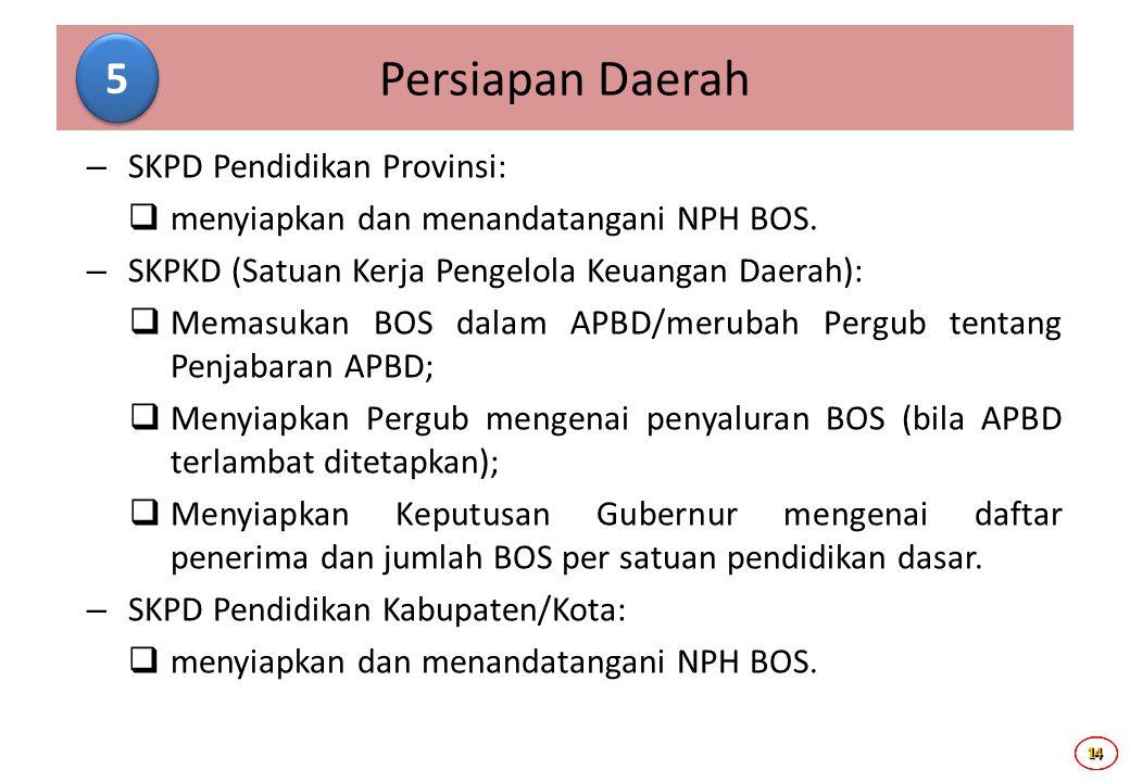 14141414 – SKPD Pendidikan Provinsi:  menyiapkan dan menandatangani NPH BOS. – SKPKD (Satuan Kerja Pengelola Keuangan Daerah):  Memasukan BOS dalam