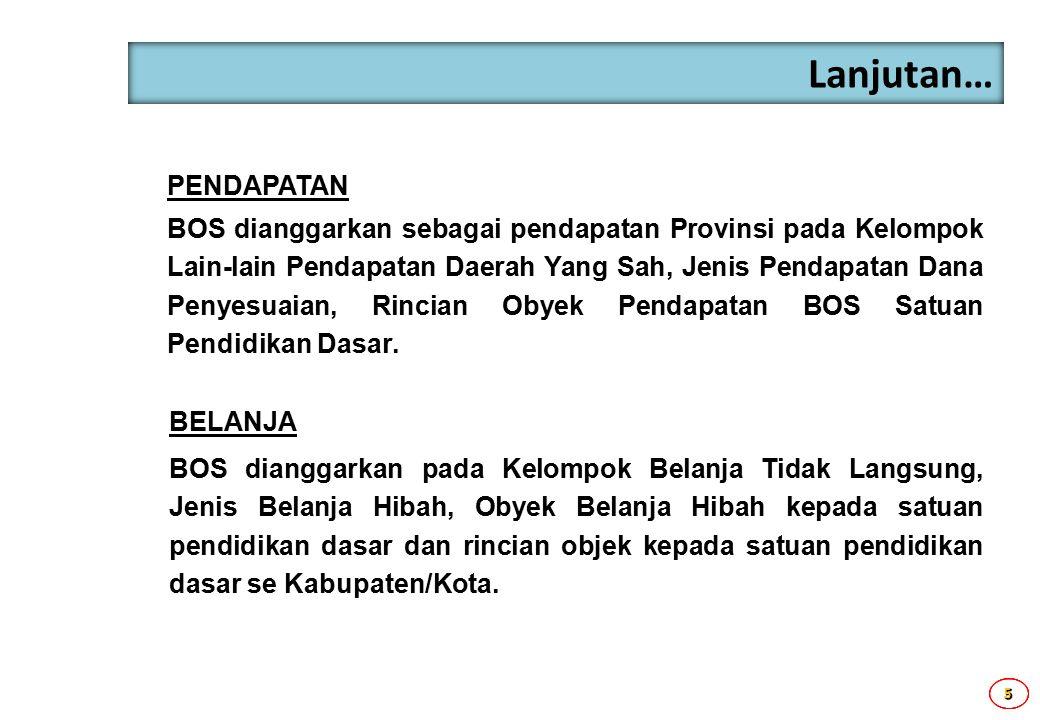 5555 Lanjutan… PENDAPATAN BOS dianggarkan sebagai pendapatan Provinsi pada Kelompok Lain-lain Pendapatan Daerah Yang Sah, Jenis Pendapatan Dana Penyes