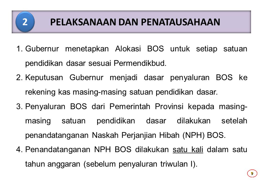 9999 1. Gubernur menetapkan Alokasi BOS untuk setiap satuan pendidikan dasar sesuai Permendikbud. 2. Keputusan Gubernur menjadi dasar penyaluran BOS k