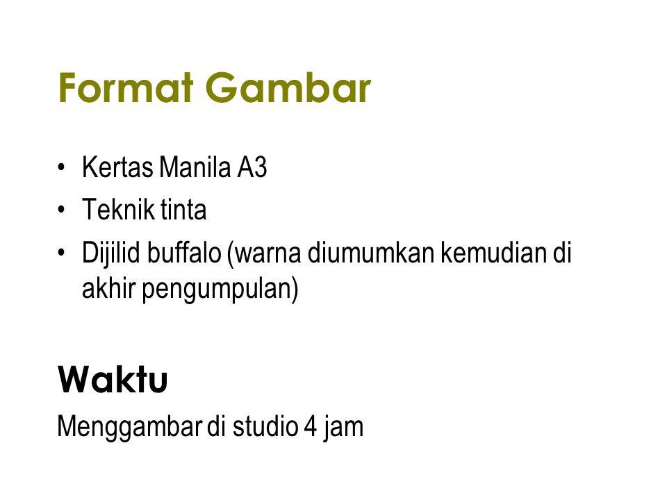 Format Gambar Kertas Manila A3 Teknik tinta Dijilid buffalo (warna diumumkan kemudian di akhir pengumpulan) Waktu Menggambar di studio 4 jam
