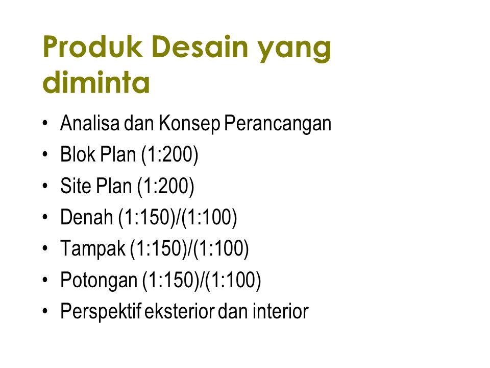 Produk Desain yang diminta Analisa dan Konsep Perancangan Blok Plan (1:200) Site Plan (1:200) Denah (1:150)/(1:100) Tampak (1:150)/(1:100) Potongan (1