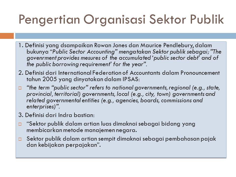 """Pengertian Organisasi Sektor Publik 1. Definisi yang dsampaikan Rowan Jones dan Maurice Pendlebury, dalam bukunya """"Public Sector Accounting"""" mengataka"""