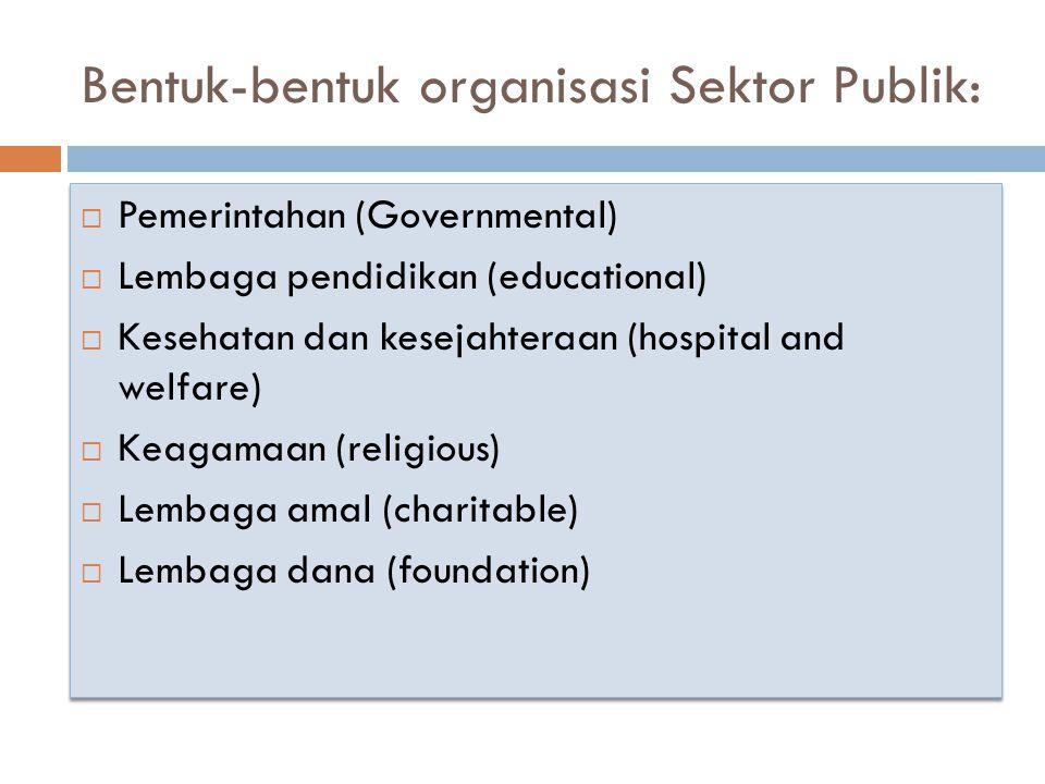 Bentuk-bentuk organisasi Sektor Publik:  Pemerintahan (Governmental)  Lembaga pendidikan (educational)  Kesehatan dan kesejahteraan (hospital and w