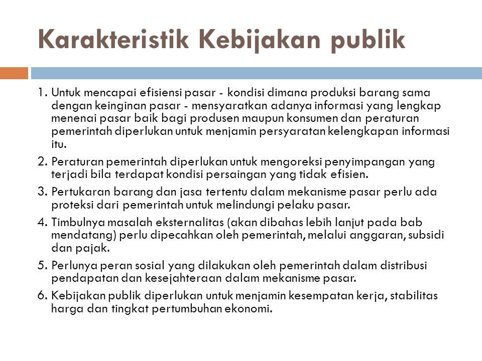 Karakteristik Kebijakan publik 1. Untuk mencapai efisiensi pasar - kondisi dimana produksi barang sama dengan keinginan pasar - mensyaratkan adanya in