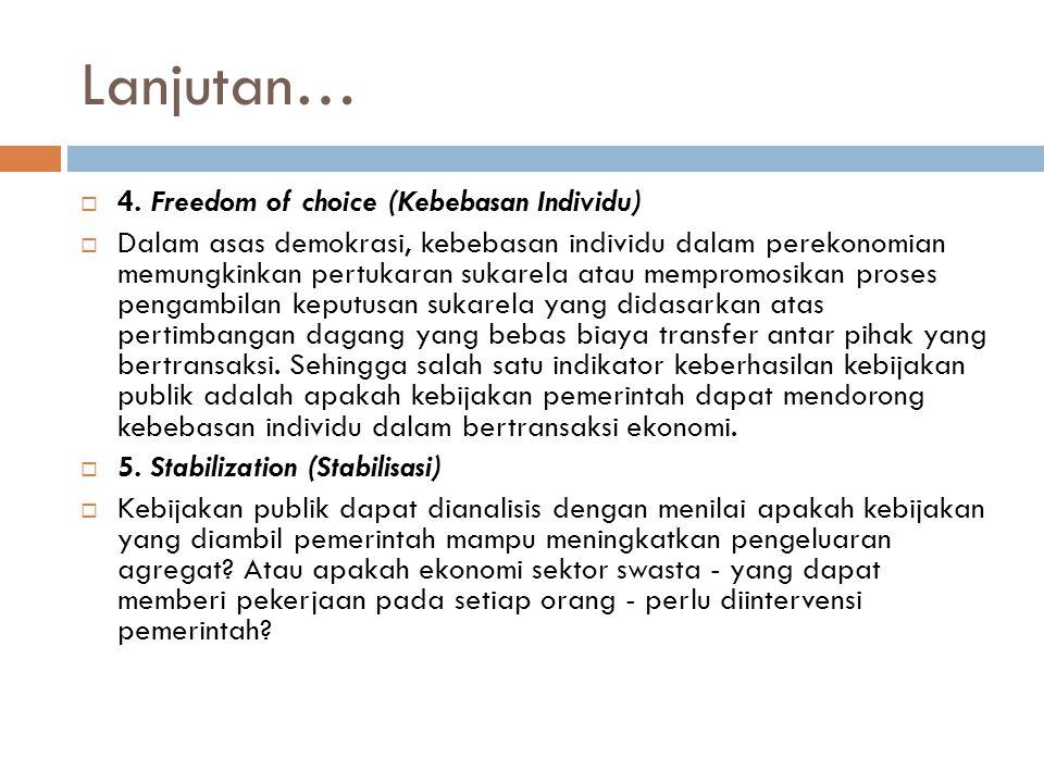 Lanjutan…  4. Freedom of choice (Kebebasan Individu)  Dalam asas demokrasi, kebebasan individu dalam perekonomian memungkinkan pertukaran sukarela a