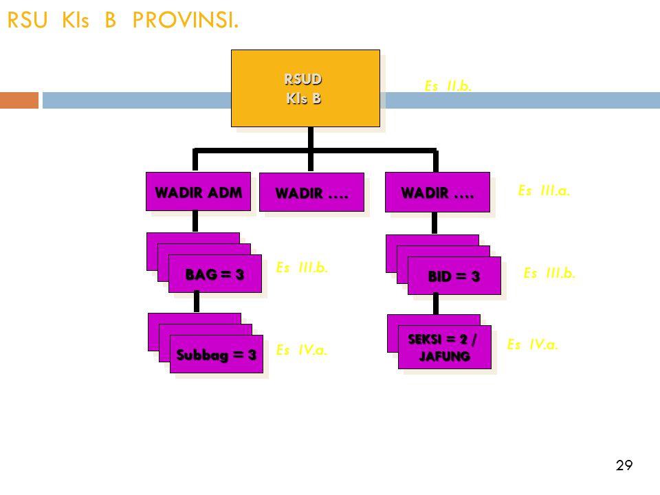 RSU Kls B PROVINSI.RSUD Kls B RSUD WADIR ADM WADIR …. BAG = 3 Subbag = 3 BID = 3 SEKSI = 2 / JAFUNG JAFUNG Es II.b. Es III.a. Es III.b. Es IV.a. 29