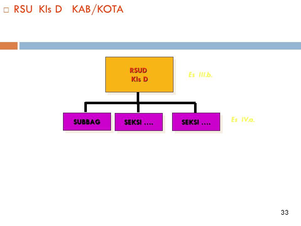  RSU Kls D KAB/KOTARSUD Kls D RSUD SUBBAGSUBBAG SEKSI …. Es III.b. Es IV.a. 33