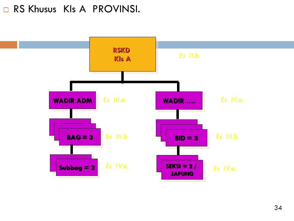  RS Khusus Kls A PROVINSI.RSKD Kls A RSKD WADIR ADM WADIR …. BAG = 3 Subbag = 2 BID = 3 SEKSI = 2 / JAFUNG JAFUNG Es II.b. Es III.a Es III.b Es III.a