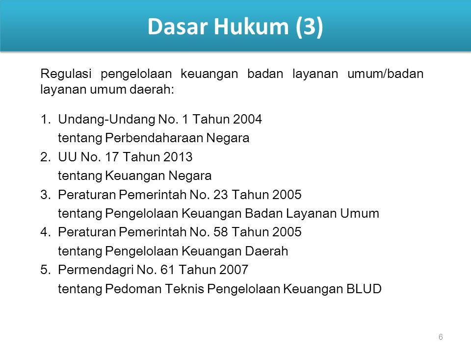 6 Dasar Hukum (3) Regulasi pengelolaan keuangan badan layanan umum/badan layanan umum daerah: 1. Undang-Undang No. 1 Tahun 2004 tentang Perbendaharaan