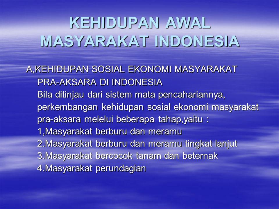 KEHIDUPAN AWAL MASYARAKAT INDONESIA A,KEHIDUPAN SOSIAL EKONOMI MASYARAKAT A,KEHIDUPAN SOSIAL EKONOMI MASYARAKAT PRA-AKSARA DI INDONESIA PRA-AKSARA DI