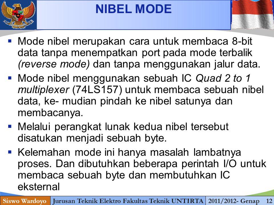 www.themegallery.com NIBEL MODE Siswo WardoyoJurusan Teknik Elektro Fakultas Teknik UNTIRTA2011/2012- Genap 12  Mode nibel merupakan cara untuk membaca 8-bit data tanpa menempatkan port pada mode terbalik (reverse mode) dan tanpa menggunakan jalur data.