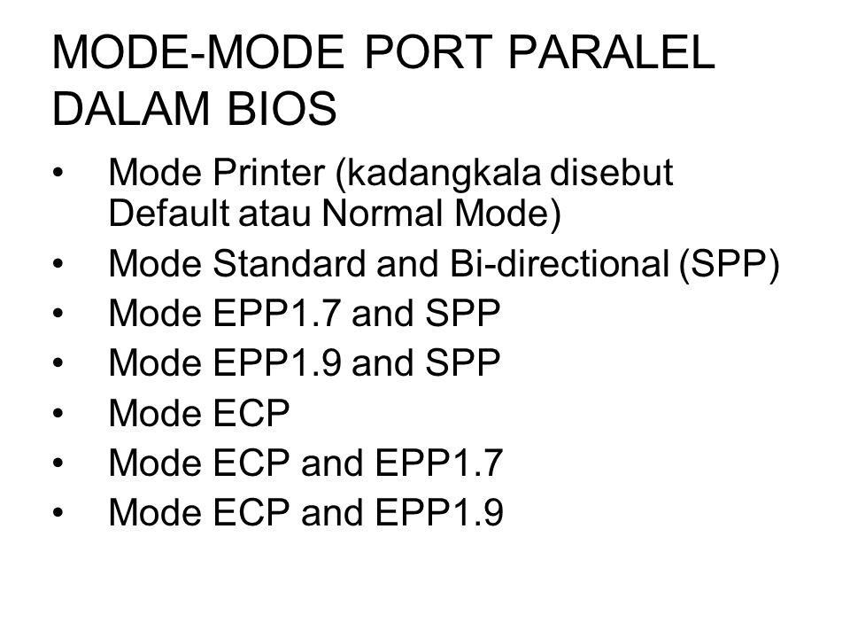 MODE-MODE PORT PARALEL DALAM BIOS Mode Printer (kadangkala disebut Default atau Normal Mode) Mode Standard and Bi-directional (SPP) Mode EPP1.7 and SP