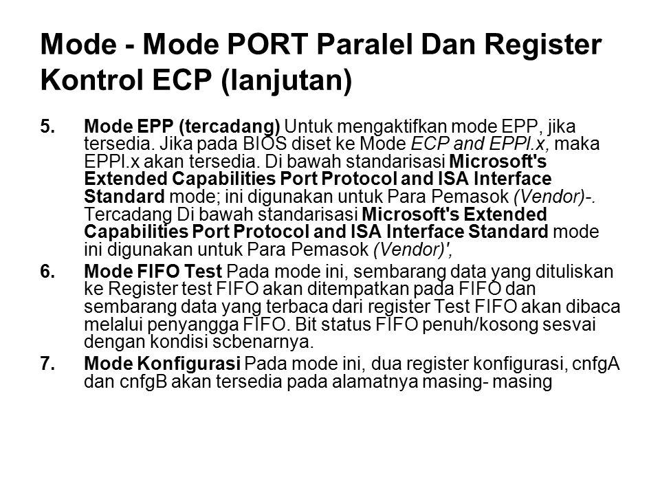 Mode - Mode PORT Paralel Dan Register Kontrol ECP (lanjutan) 5.Mode EPP (tercadang) Untuk mengaktifkan mode EPP, jika tersedia. Jika pada BIOS diset k