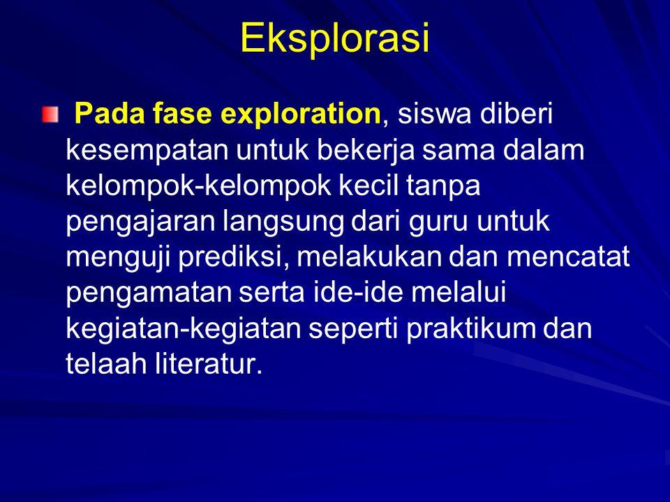 Eksplorasi Pada fase exploration, siswa diberi kesempatan untuk bekerja sama dalam kelompok-kelompok kecil tanpa pengajaran langsung dari guru untuk m