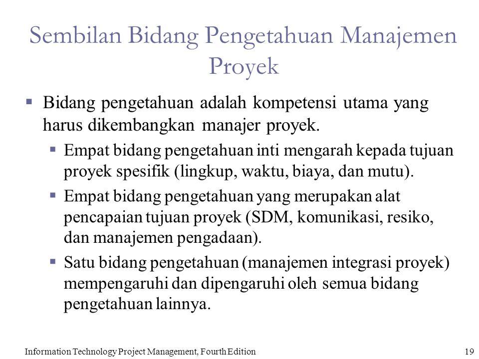 Information Technology Project Management, Fourth Edition19 Sembilan Bidang Pengetahuan Manajemen Proyek  Bidang pengetahuan adalah kompetensi utama