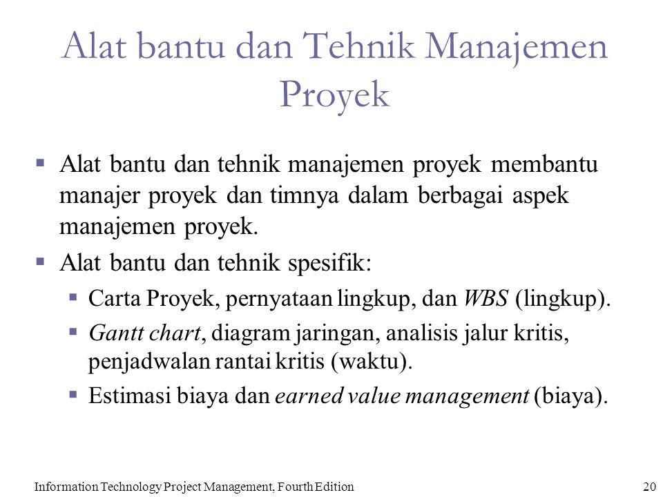 Information Technology Project Management, Fourth Edition20 Alat bantu dan Tehnik Manajemen Proyek  Alat bantu dan tehnik manajemen proyek membantu m