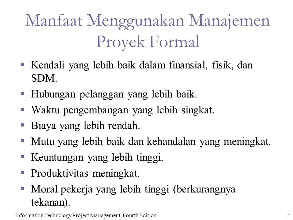 Information Technology Project Management, Fourth Edition4 Manfaat Menggunakan Manajemen Proyek Formal  Kendali yang lebih baik dalam finansial, fisi