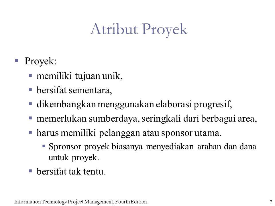 Information Technology Project Management, Fourth Edition7 Atribut Proyek  Proyek:  memiliki tujuan unik,  bersifat sementara,  dikembangkan mengg