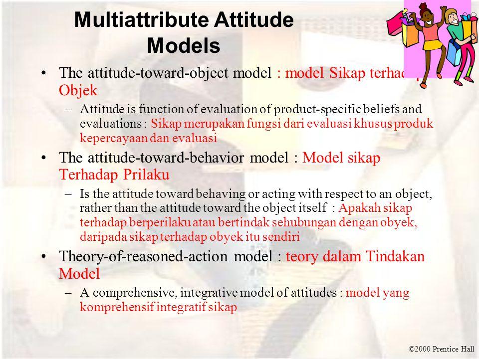 ©2000 Prentice Hall Multiattribute Attitude Models The attitude-toward-object model : model Sikap terhadap Objek –Attitude is function of evaluation o